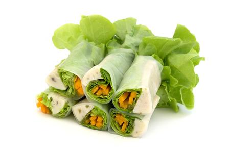 Thai Fresh spring rolls (Por Pia Sod) Stock Photo