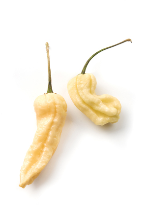 Jays Peach Ghost Scorpion pepper on a white background Stock Photo