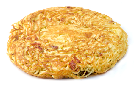 Frittata di Spaghetti (Neapolitan Spaghetti Omelet) on a white background