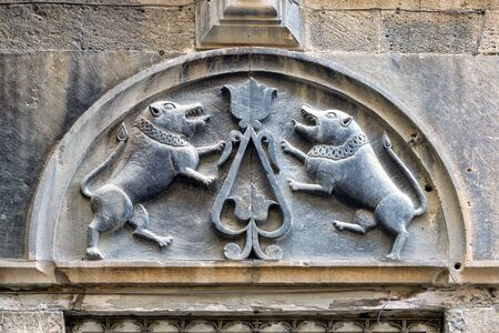 Lions carving in the old city of Icheri Sheher, Baku, Azerbaijan. The lions are the mytical defender of Baku fortress