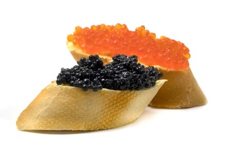 Salmon roe and sturgeon caviar on a white background Imagens