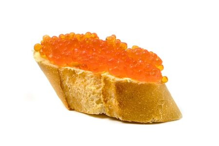 Salmon roe on a white background