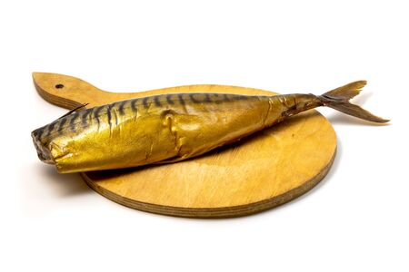 Smoked atlantic mackerel (Scomber scombrus) on a white background