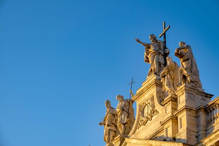 Statues on the facade of San Giovanni in Laterano, Rome, Italy Stock Photo