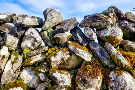 Close up of a an irish dry stone wall