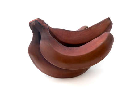 Red banana (Musa acuminata var Red Dacca) on a white background