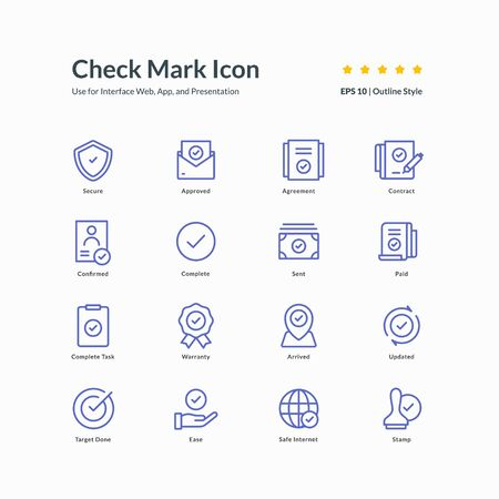 check mark icon set graphic design vector illustration for interface mobile web presentation