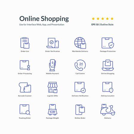 online shopping icon set graphic design vector illustration for interface mobile web presentation Vetores