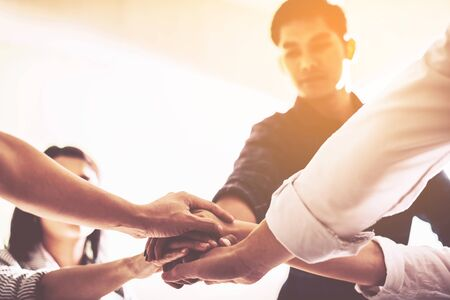 business handshaking process after successful deal of business meeting,Close up image share hand of business partnership Stock Photo