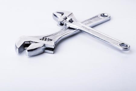 Adjustable wrench isolated on white background