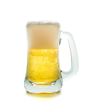 unbottled: glass of beer isolated on white background Stock Photo