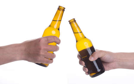 hold hands: beer Stock Photo