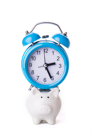 white interest rate: Time is money concept Stock Photo
