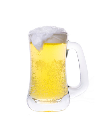 glass of beer: glass of beer isolated on white background Stock Photo