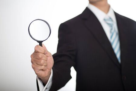 auditor: Auditor holding magnifying glass and tablet. Over blue background