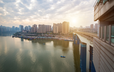 China Chongqing elevated light rail, modern city traffic perspective.