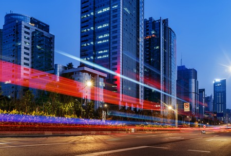 abstract image of blur motion of cars on the city road at night Stock Photo