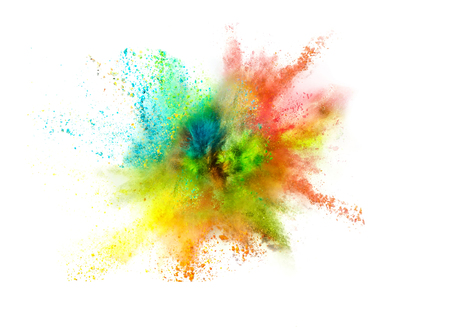 Explosion of colored powder on white background Stock fotó