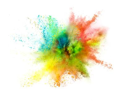 Explosion of colored powder on white background Standard-Bild