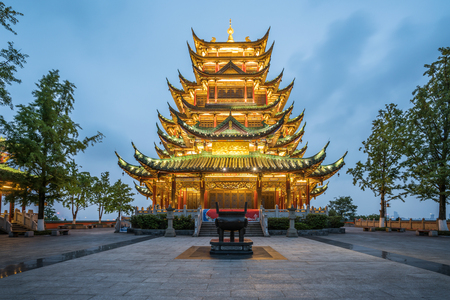 Ancient architecture temple pagoda in the park, Chongqing, China Фото со стока