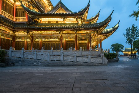 Ancient architecture temple pagoda in the park, Chongqing, China Imagens