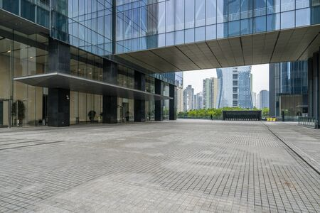 Panoramic skyline and buildings with empty concrete square floor, Chongqing, China Zdjęcie Seryjne
