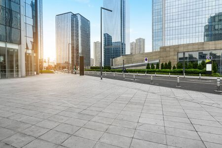 Panoramic skyline and buildings with empty concrete square floor, Chongqing, China