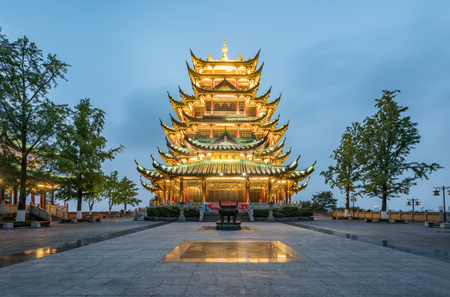 Ancient architecture temple pagoda in the park, Chongqing, China Editorial