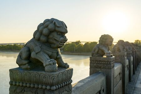 Lions stone sculpture under sunset
