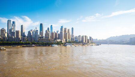 Modern metropolis skyline, Chongqing, China, 版權商用圖片 - 124748631