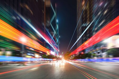 abstract image of blur motion of cars on the city road at night Zdjęcie Seryjne