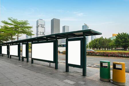 Bus stop billboard on stage,shenzhen,china Zdjęcie Seryjne