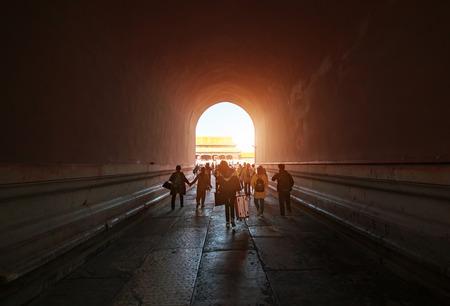 Tourists walk through the Forbidden City corridor, Beijing, China Publikacyjne