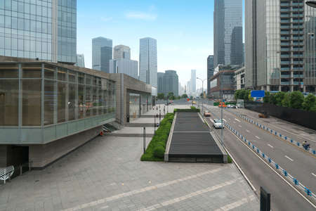 Empty highway with cityscape of Chongqing, China