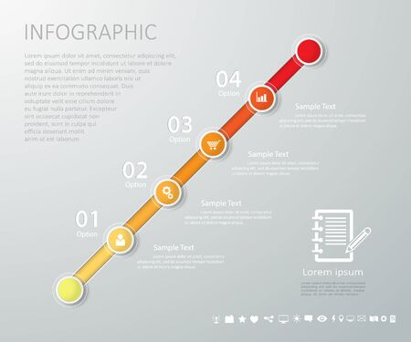 yearly: Timeline infographic template with icons set for business design, reports, step presentation