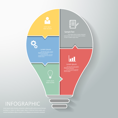 conection: Abstract light bulb template with icons set for business design, reports, step presentation