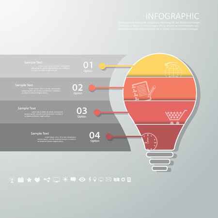 vision: Abstract template with icons set for business design, reports, step presentation