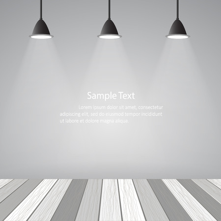 spot clean: Empty room loft style and white wooden floor. Vector