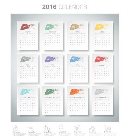 Design brush color of 2016 calendar. Vector   Иллюстрация