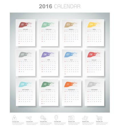 mon 12: Design brush color of 2016 calendar. Vector   Illustration