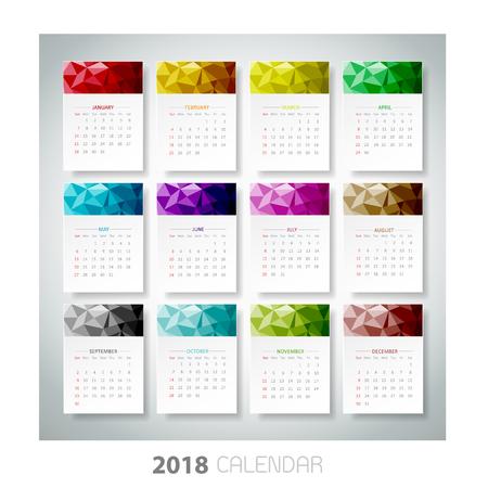 Ontwerpen Geometrische kalender van 2018. Vector Stock Illustratie