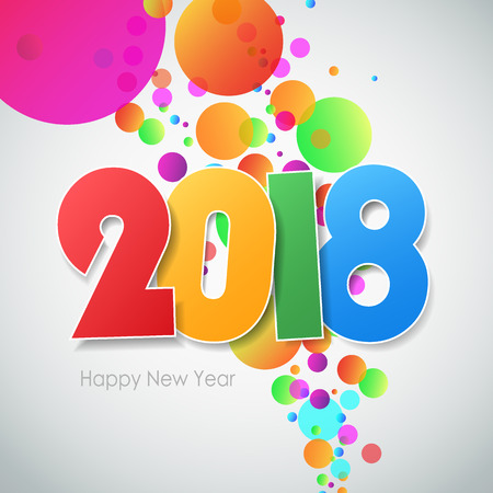 abstract design elements: Happy new year 2018  greeting card. Vector illustration