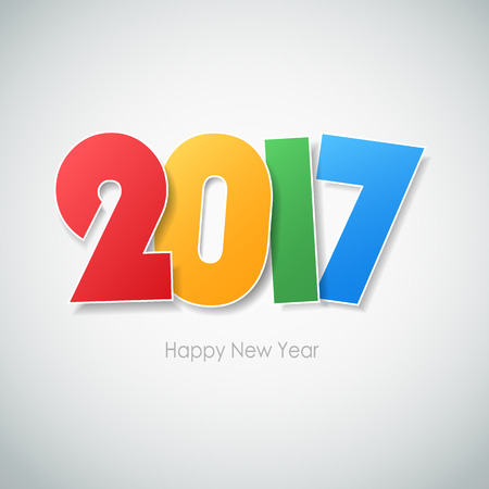 Happy new year 2017  greeting card. Vector illustration