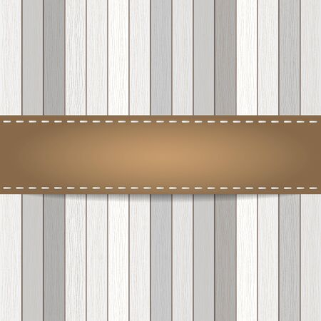 ligneous: Wood plank background with leather strap. Vector   Illustration