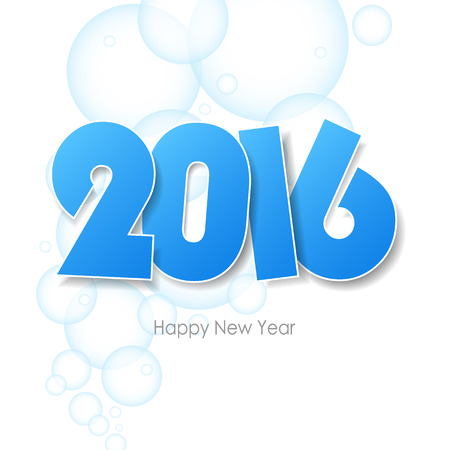 soapsuds: Happy new year 2016  greeting card. water bubbles background, Vector illustration