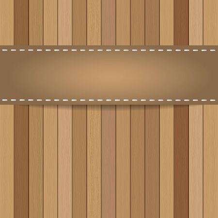 siding: Wood plank background with leather strap. Vector   Illustration
