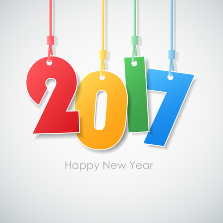 Simple greeting card happy new year 2017. Vector illustration