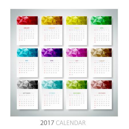 mon 12: Design Geometrical calendar of 2017. Vector  Illustration