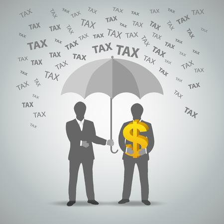 Dos hombre de negocios protege el dinero de los impuestos