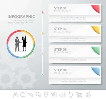 4 steps infographic template. can be used for workflow layout, diagram, number options Illustration